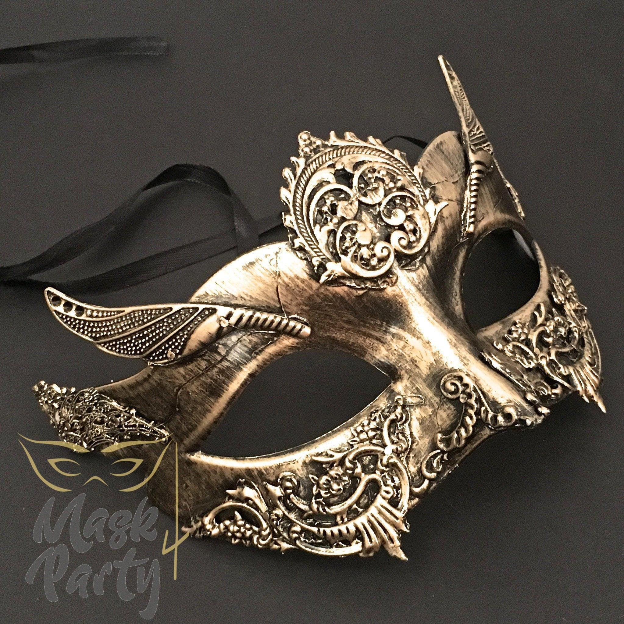 Steampunk Mask - Bird Wing - Gold/Black - Mask4Party