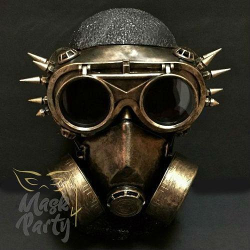 Steampunk Mask - Flip Up Goggles & Respirator - Black/Gold - Mask4Party