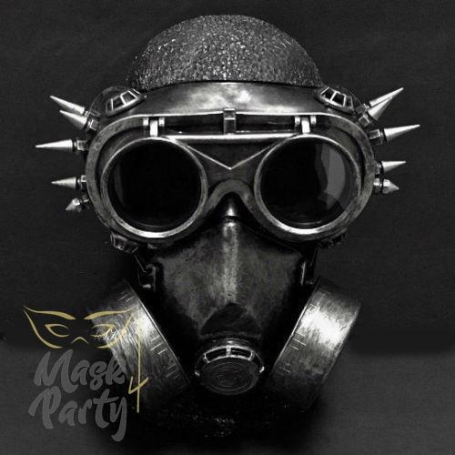 Steampunk Mask - Flip Up Goggles & Respirator - Black/Silver - Mask4Party
