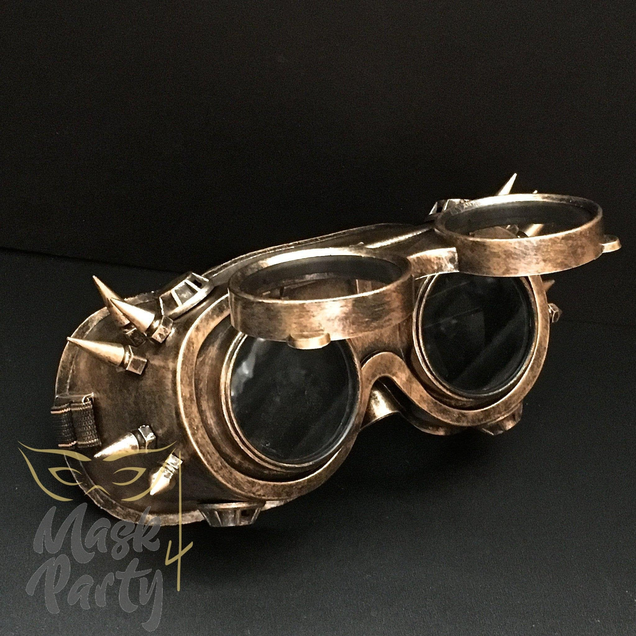 Steampunk Mask - Flip-Up Rivet Goggles - Gold/Black - Mask4Party