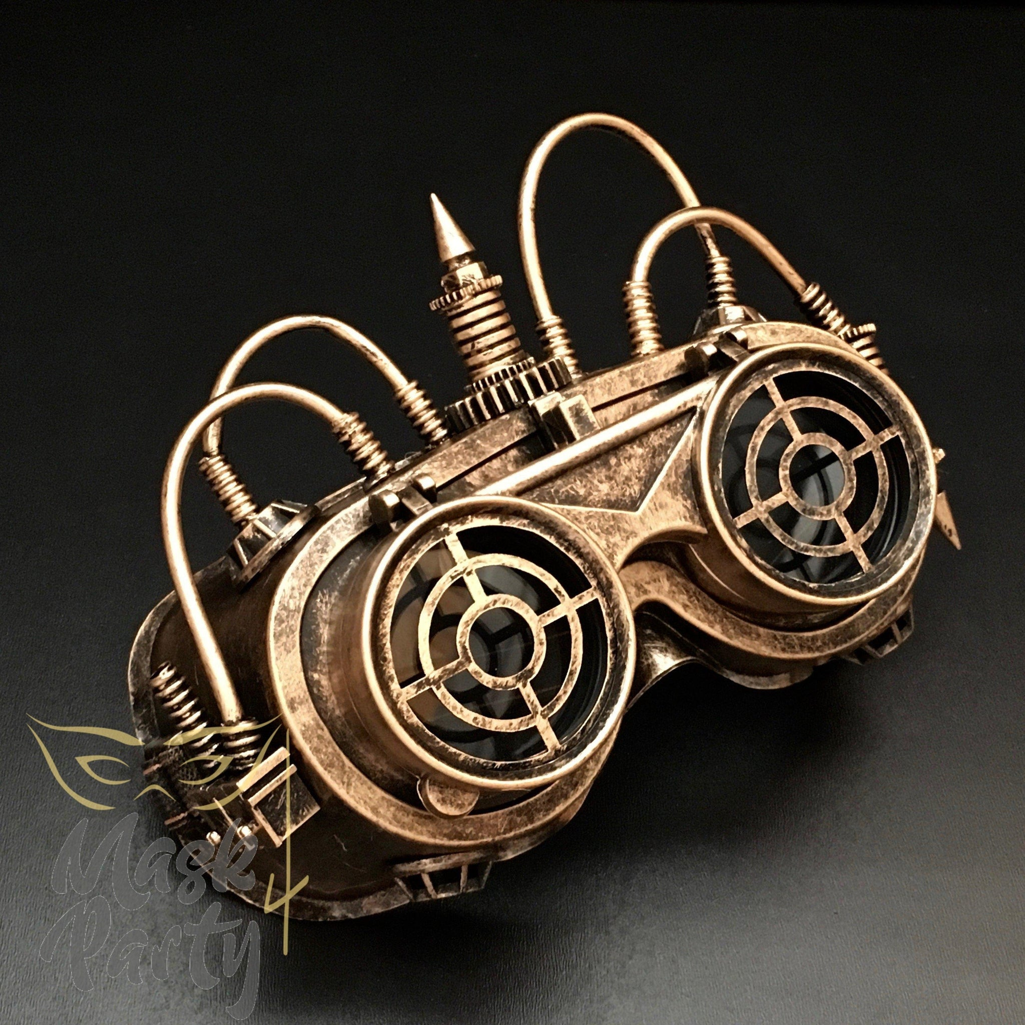 Steampunk Mask - Flip-Up Tube Goggles - Black/Gold - Mask4Party