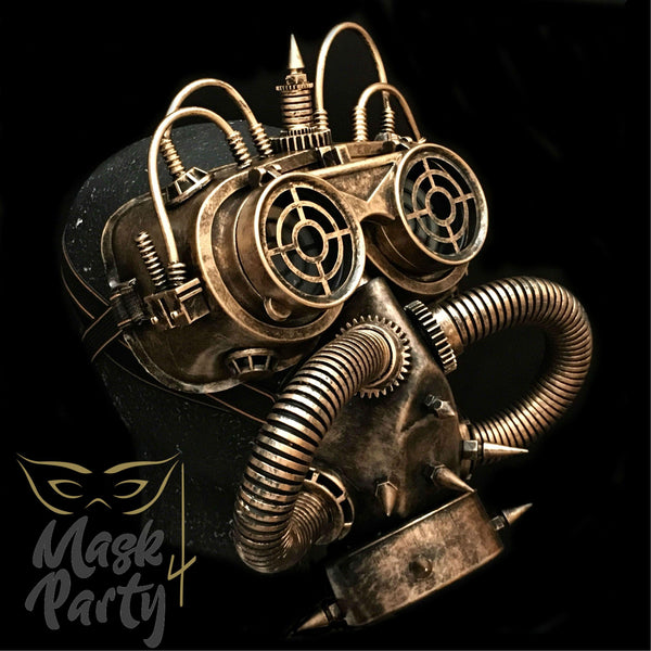 Steampunk Mask - Flip-Up Tube Goggles & Gas Tube - Black/Gold - Mask4Party