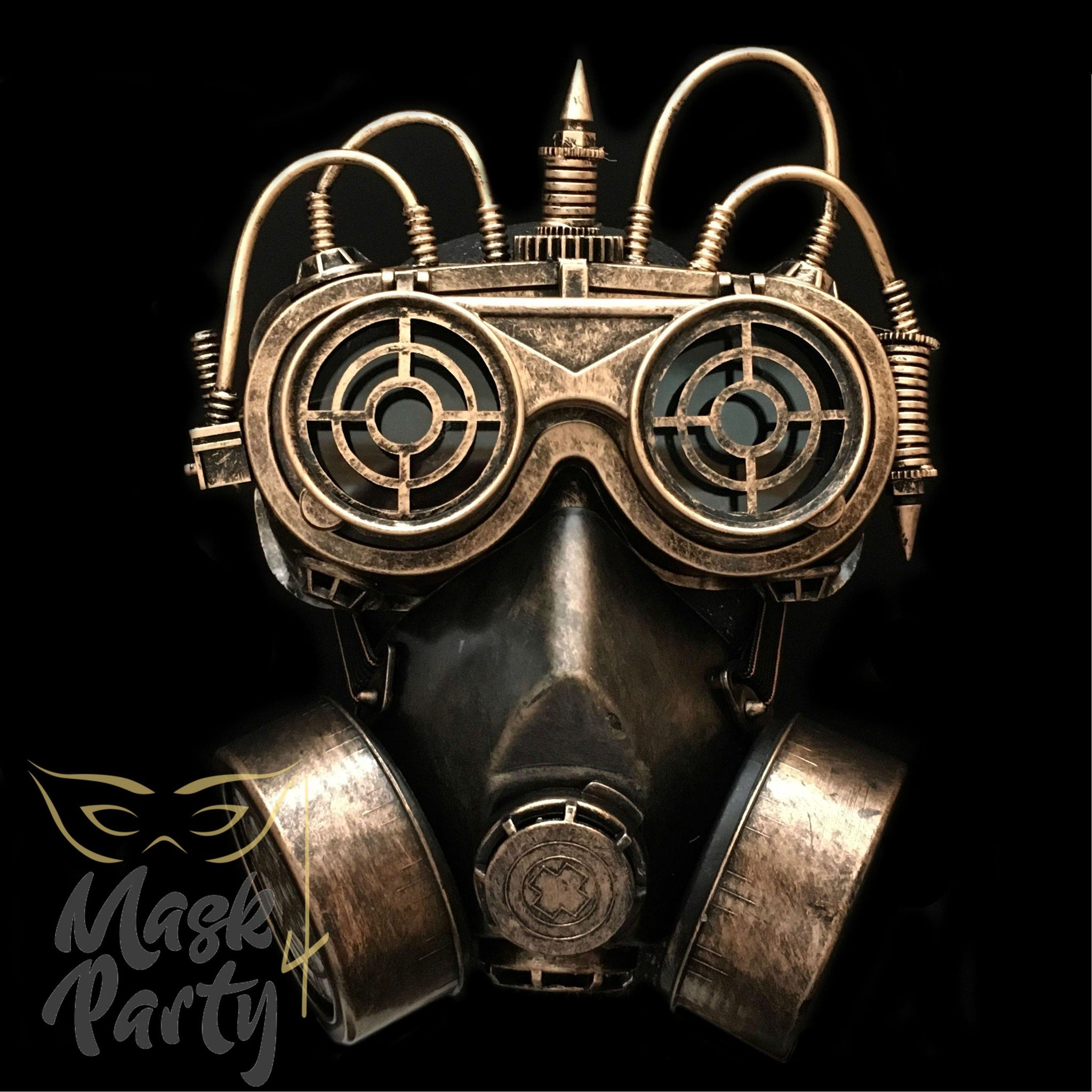 Steampunk Mask - Flip-Up Tube Goggles & Respirator - Black/Gold - Mask4Party