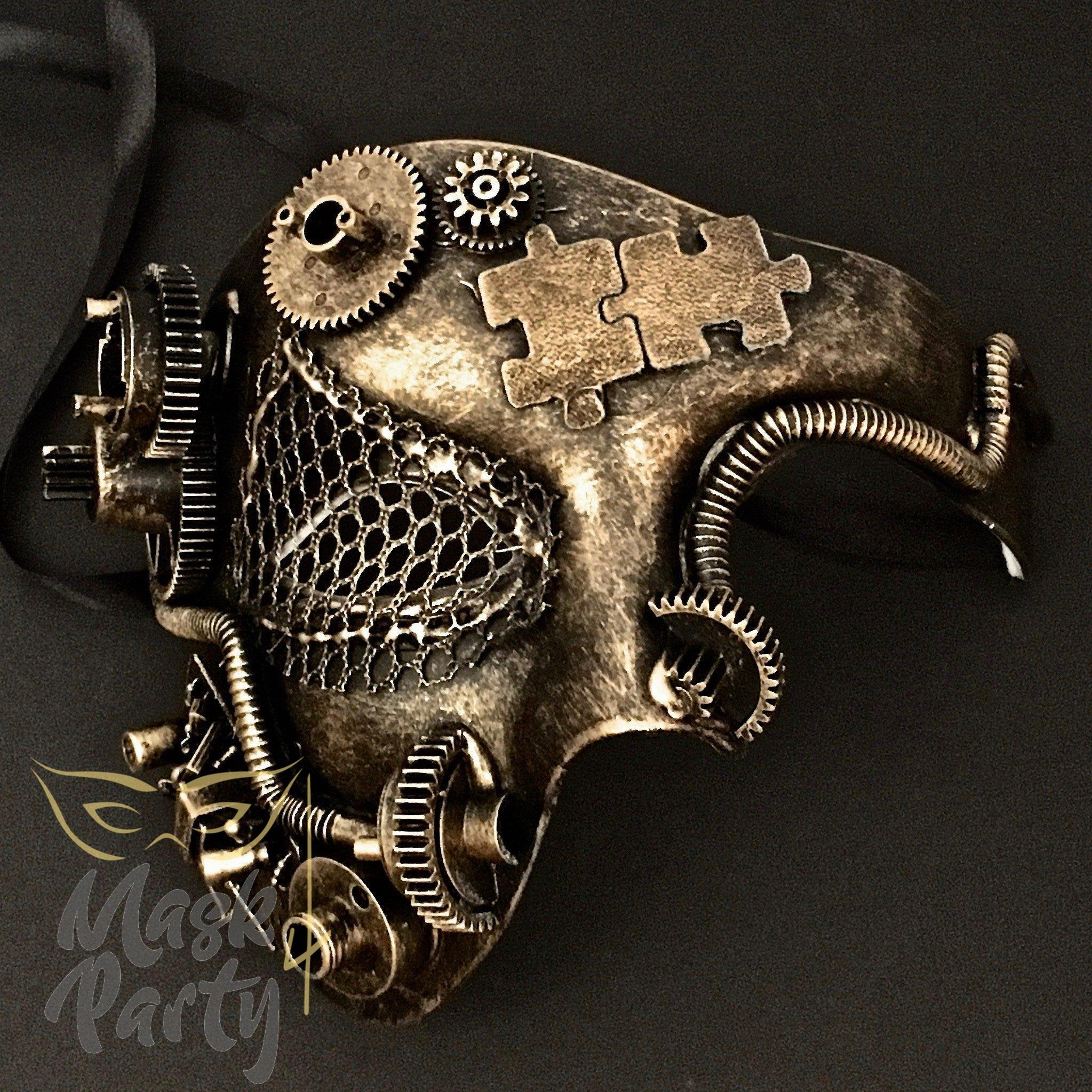 Steampunk Mask - Gear & Puzzle - Black/Gold - Mask4Party