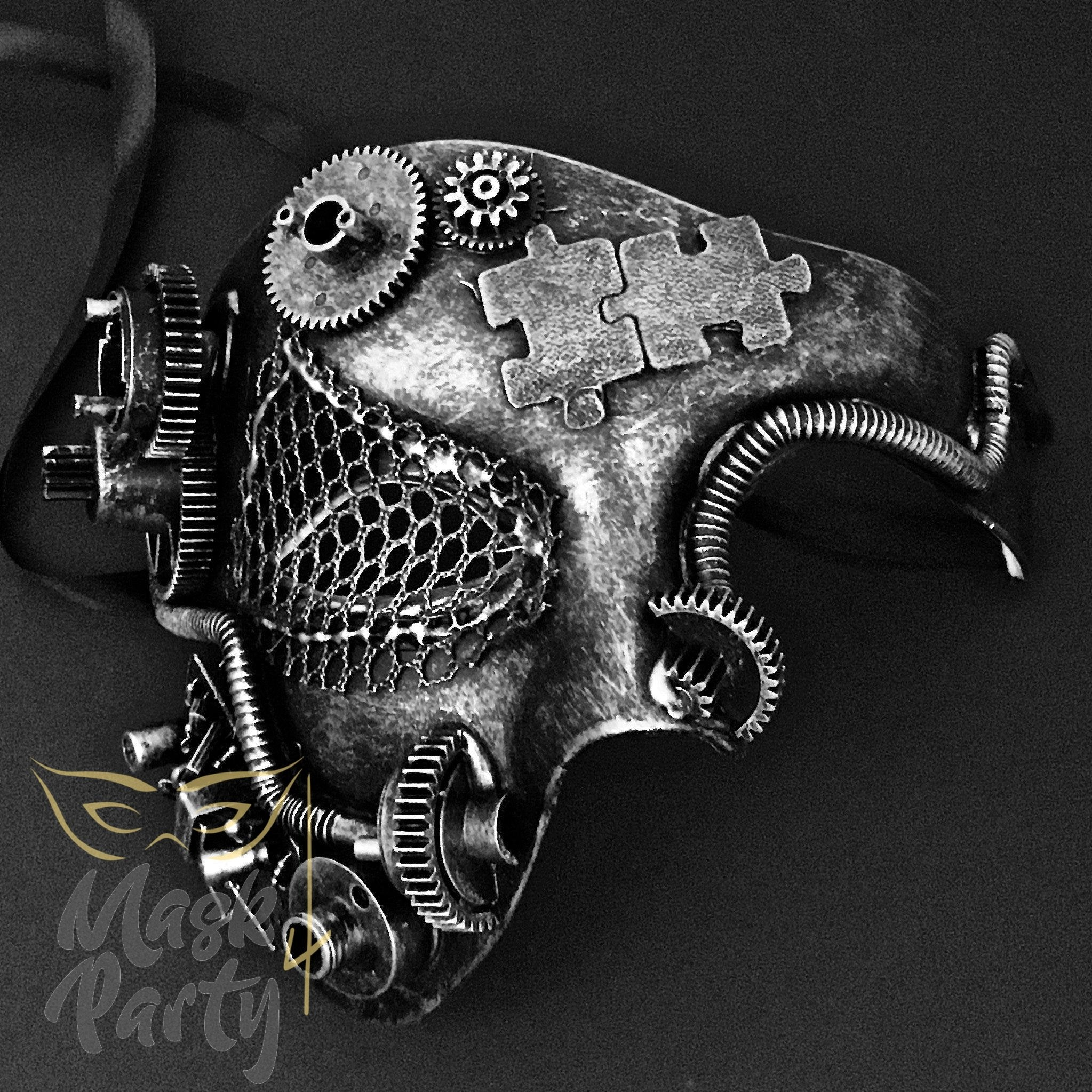 Steampunk Mask - Gear & Puzzle - Black/Silver - Mask4Party