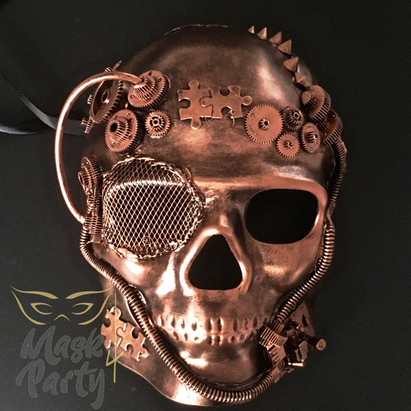 Steampunk Mask - Gear & Puzzle Skull Full Face - Black/Copper - Mask4Party
