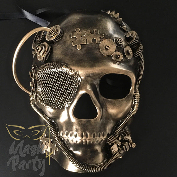 Steampunk Mask - Gear & Puzzle Skull Full Face - Black/Gold - Mask4Party