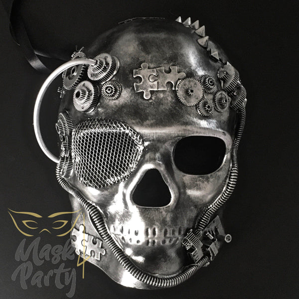 Steampunk Mask - Gear & Puzzle Skull Full Face - Silver/Black - Mask4Party