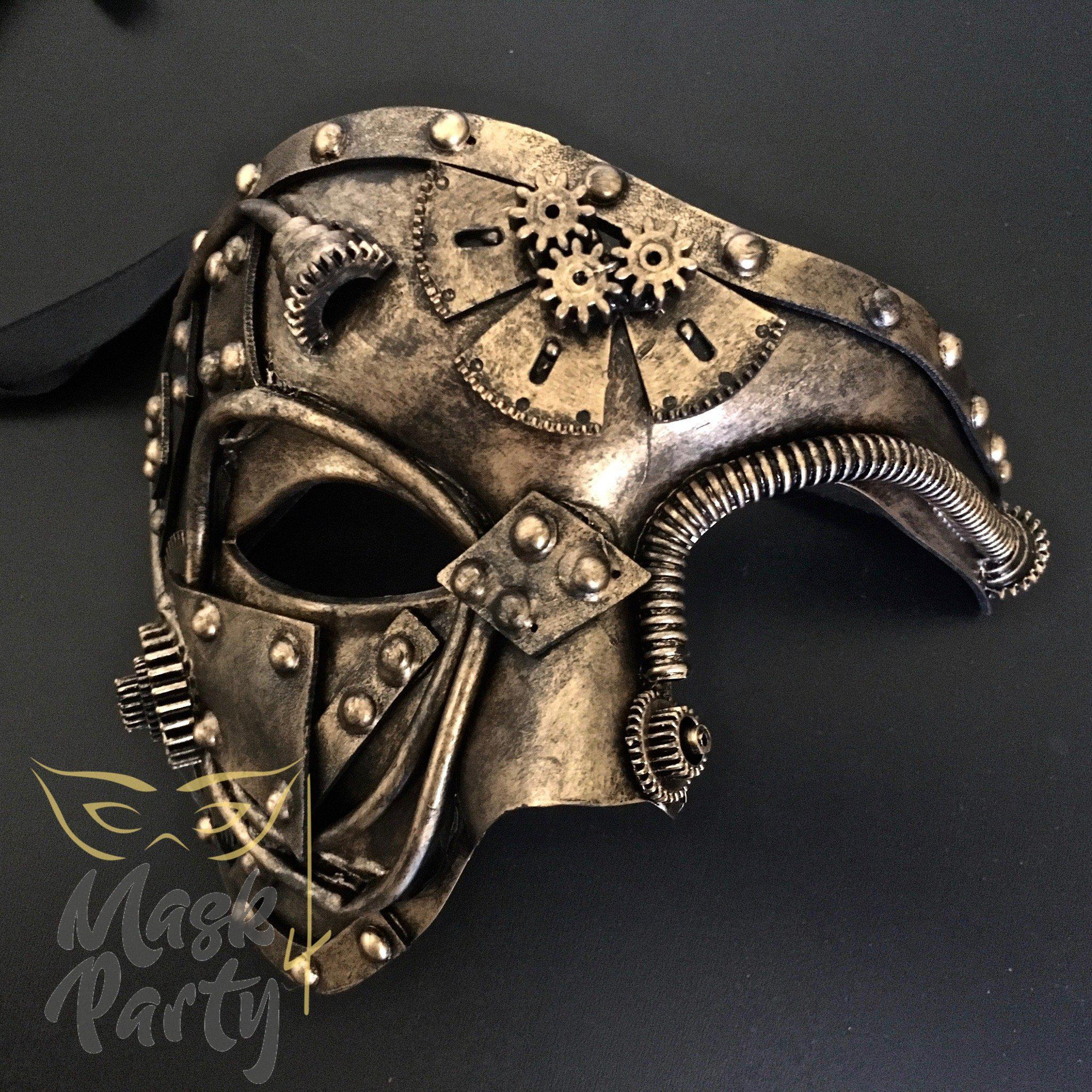 Steampunk Mask - Gear & Tube - Black/Gold - Mask4Party