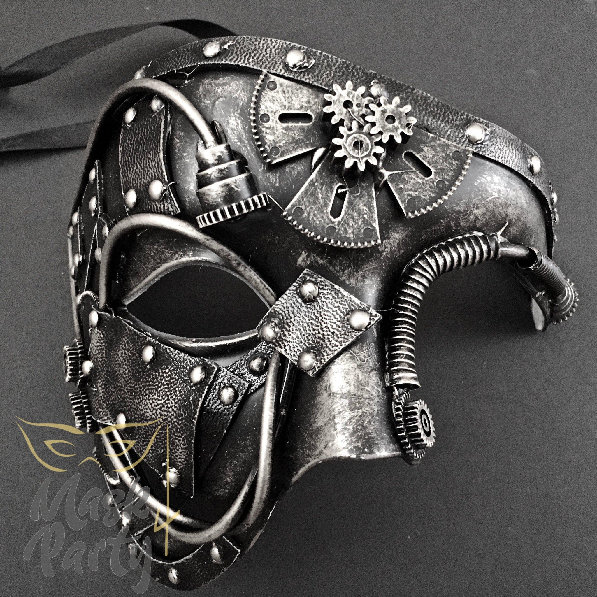 Steampunk Mask - Gear & Tube - Black/Silver - Mask4Party