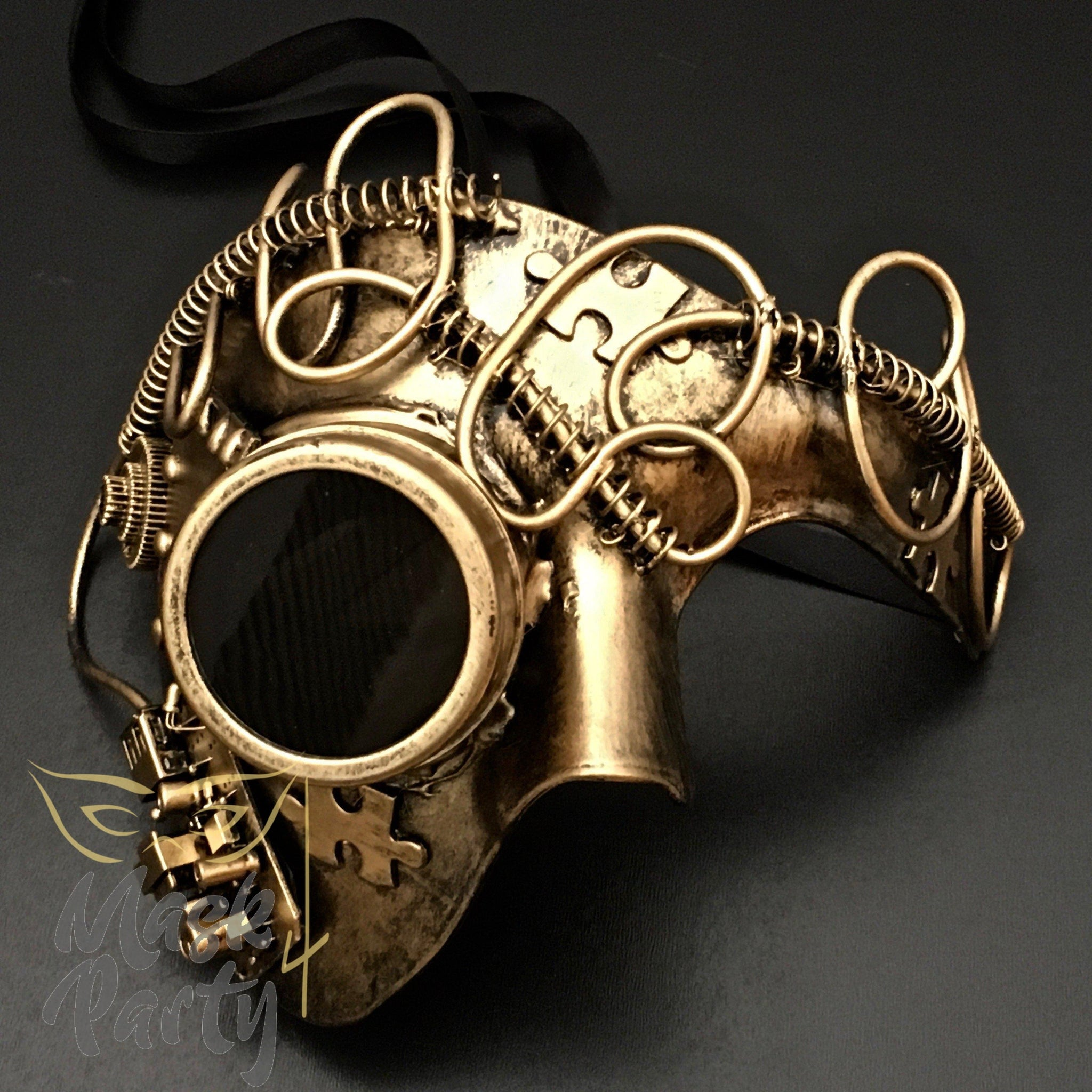 Steampunk Mask - Goggles & Puzzle Phantom - Gold/Black - Mask4Party