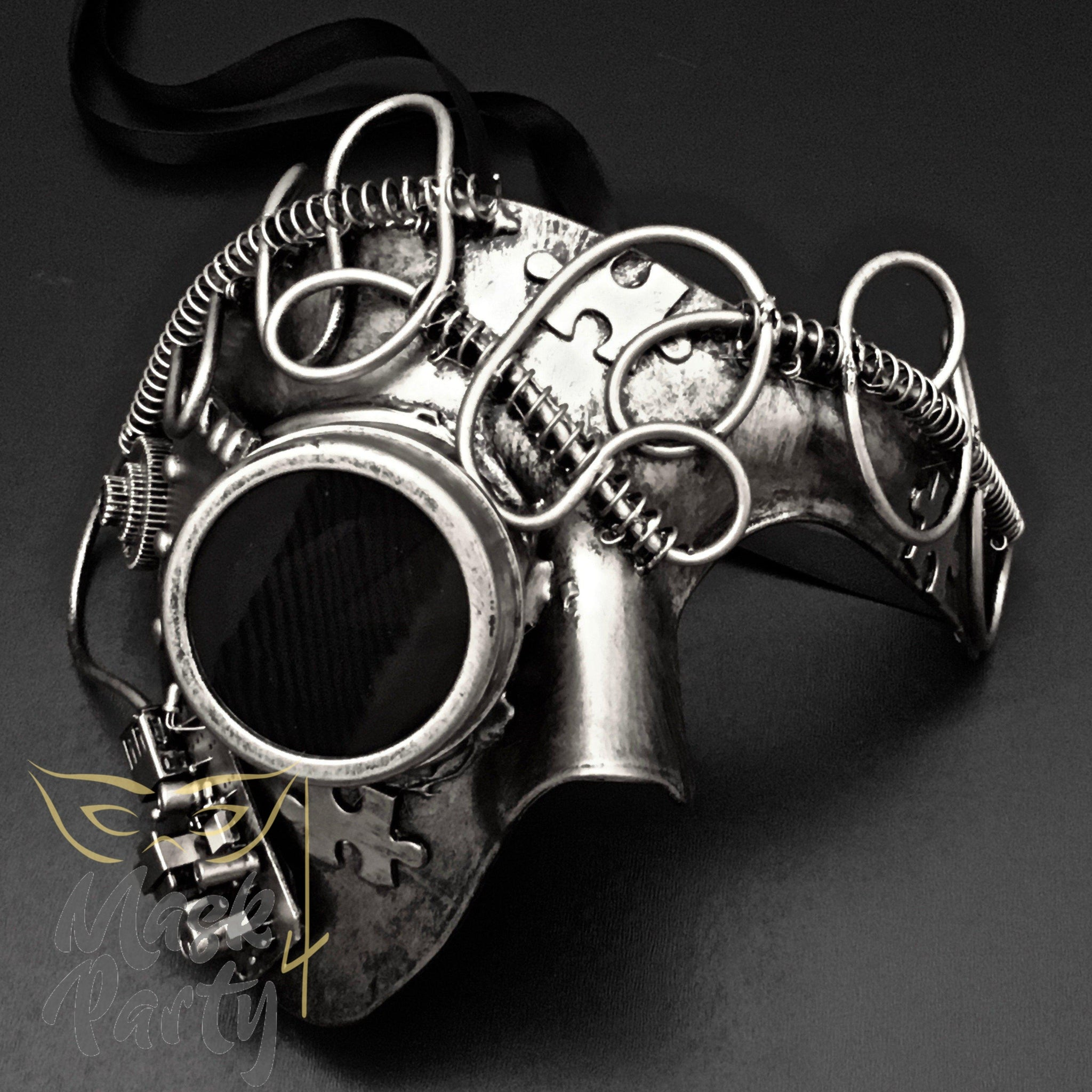 Steampunk Mask - Goggles & Puzzle Phantom - Silver/Black - Mask4Party