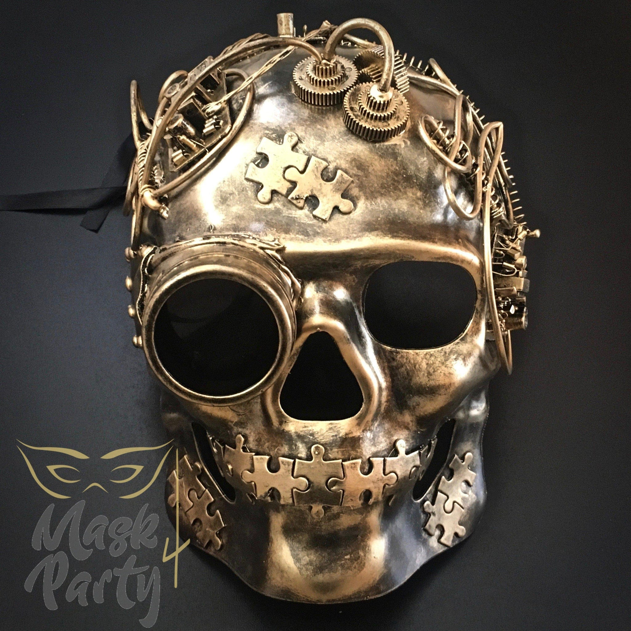 Steampunk Mask - Goggles & Puzzle Skull Full Face - Gold/Black - Mask4Party