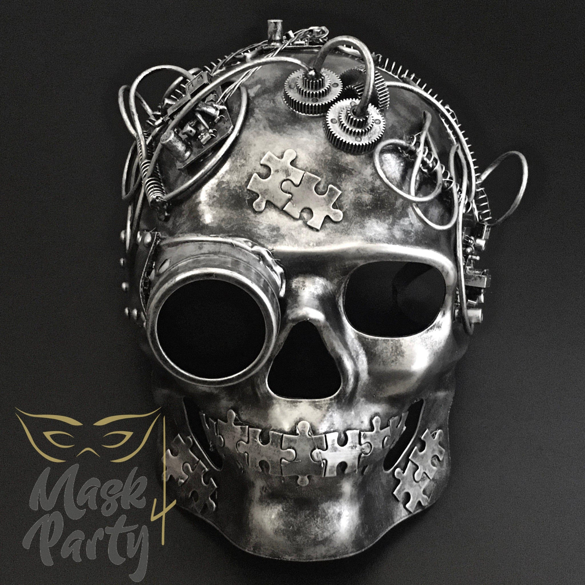 Steampunk Mask - Goggles & Puzzle Skull Full Face - Silver/Black - Mask4Party