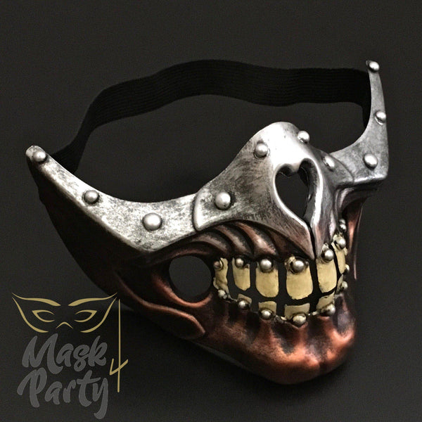 Steampunk Mask - Half Face Skull - Copper/Silver - Mask4Party