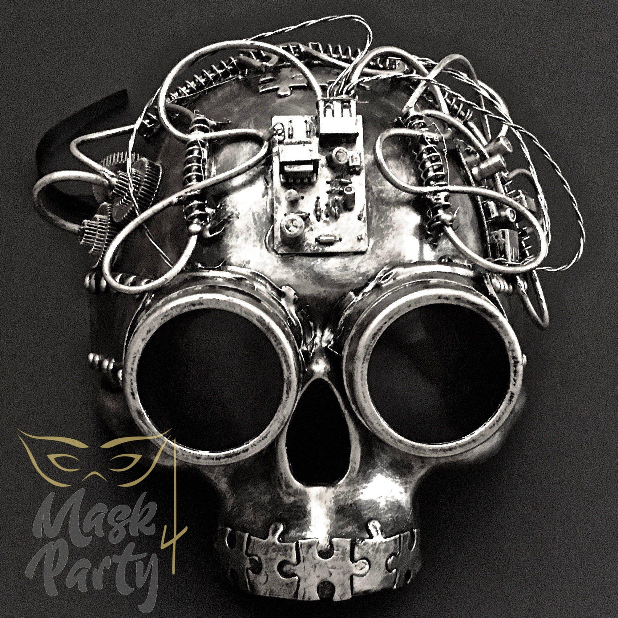 Steampunk Mask - Half-Face Skull & Puzzle Tube - Silver/Black - Mask4Party