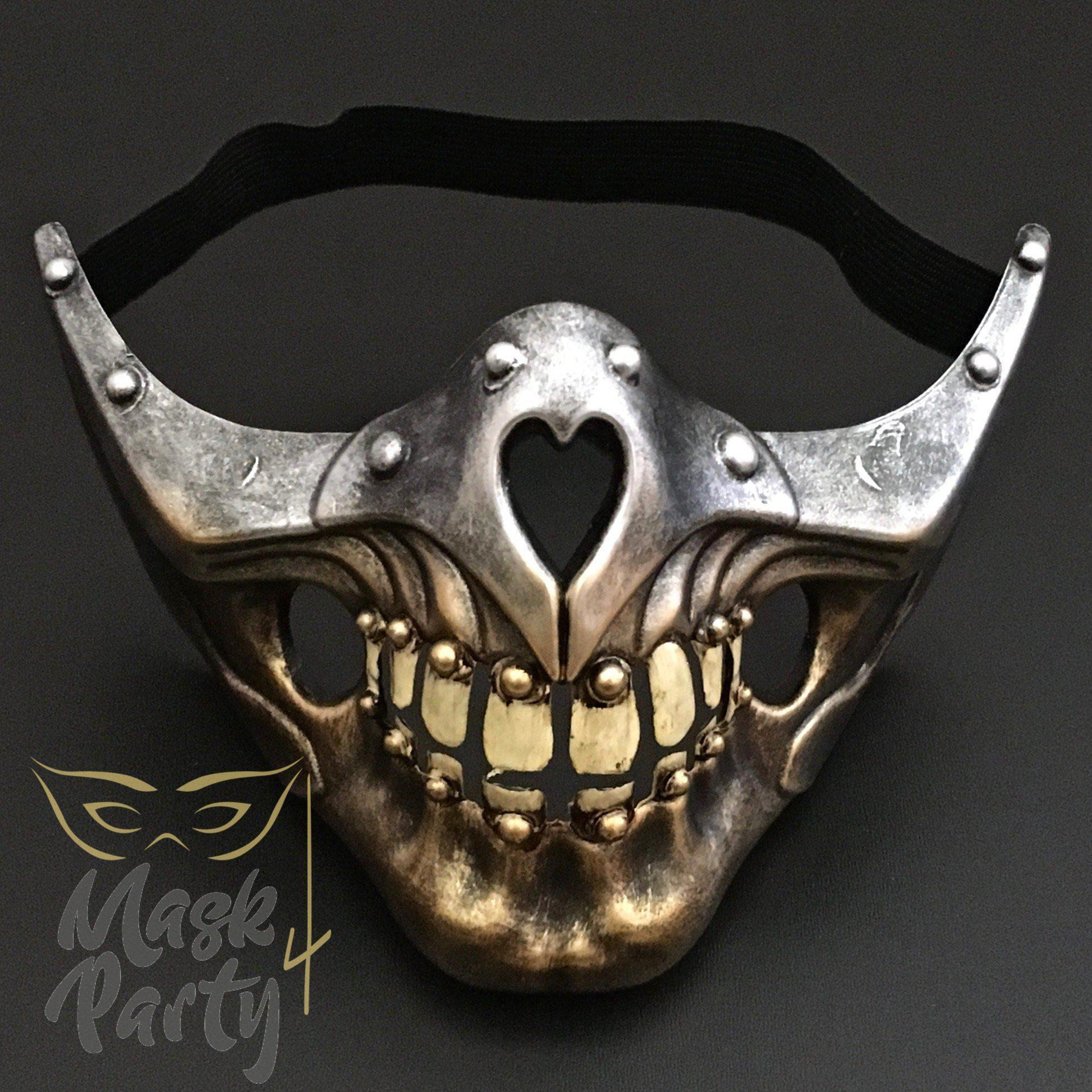 Steampunk Mask - Half Face Skull - Silver/Gold - Mask4Party