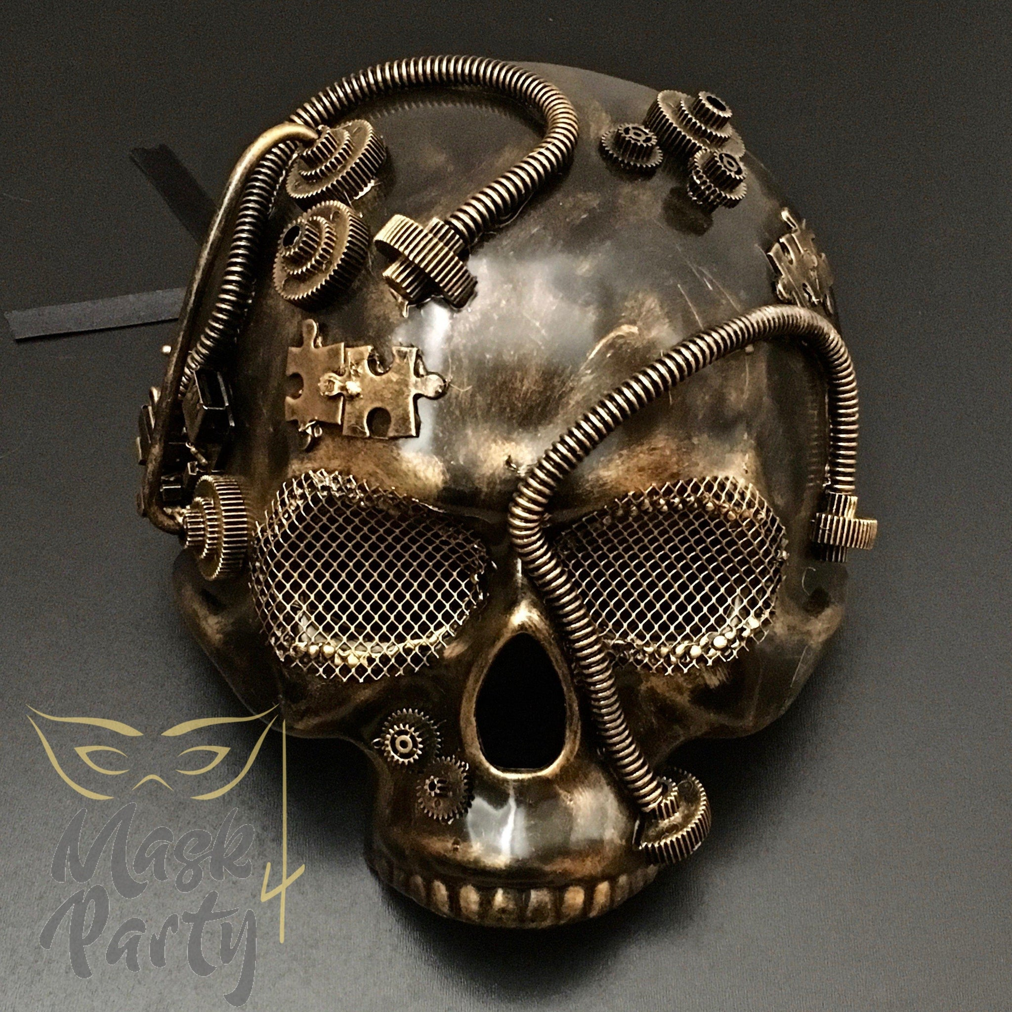 Steampunk Mask - Half Skull - Black/Gold - Mask4Party