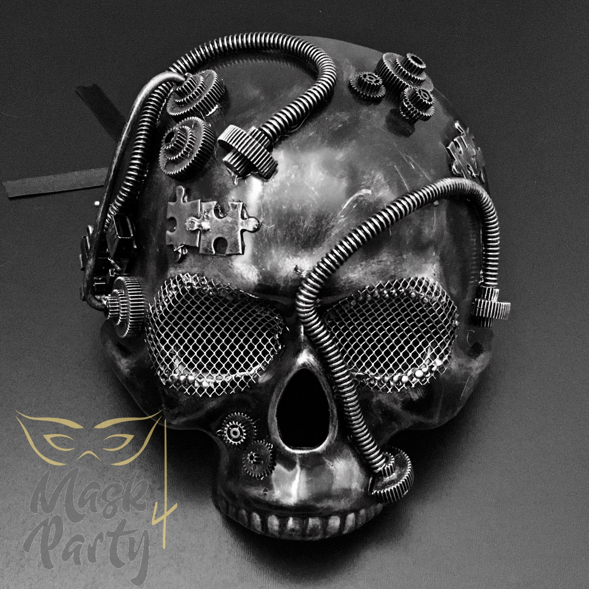 Steampunk Mask - Half Skull - Black/Silver - Mask4Party