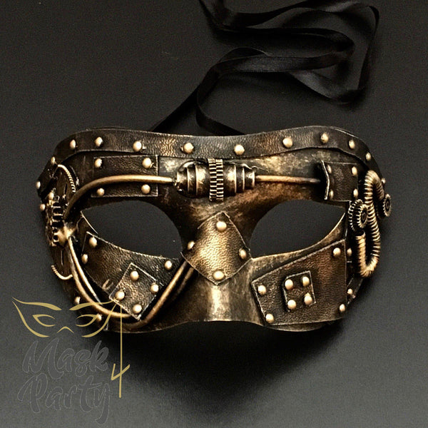 Steampunk Mask - Hobnail & Gear Tube - Black/Gold - Mask4Party