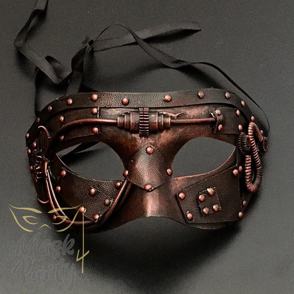 Steampunk Mask - Hobnail & Gear Tube - Copper/Black - Mask4Party