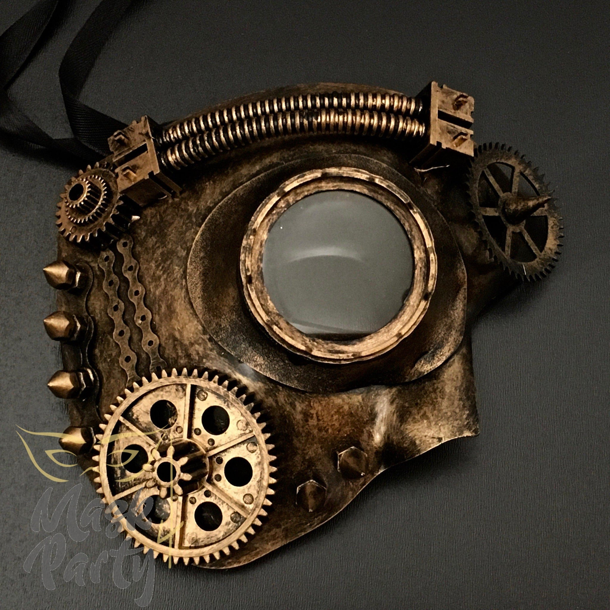 Steampunk Mask - Phantom Bevel Gear Goggles - Black/Gold - Mask4Party