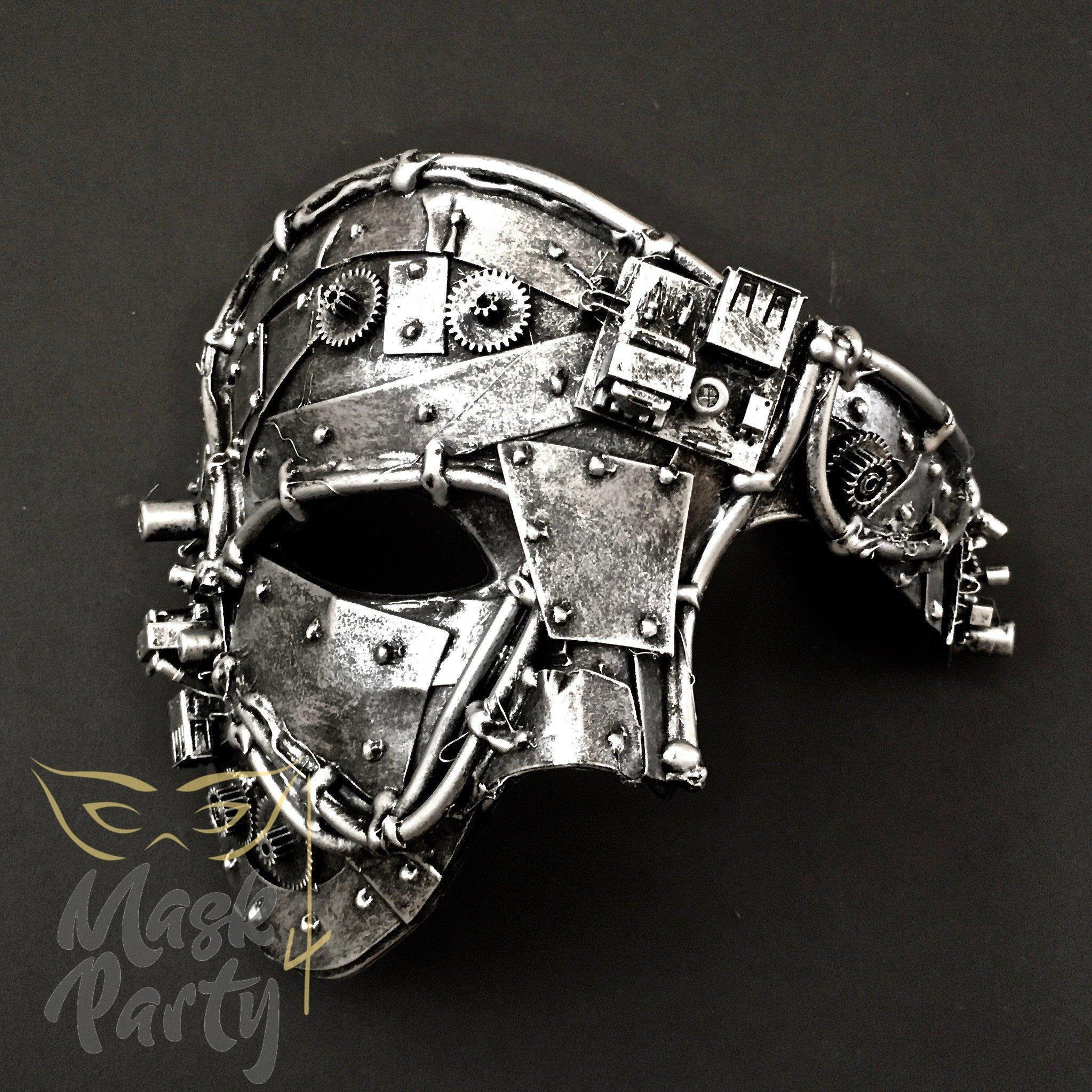 Steampunk Mask - Phantom Gear & Tube - Black/Silver - Mask4Party