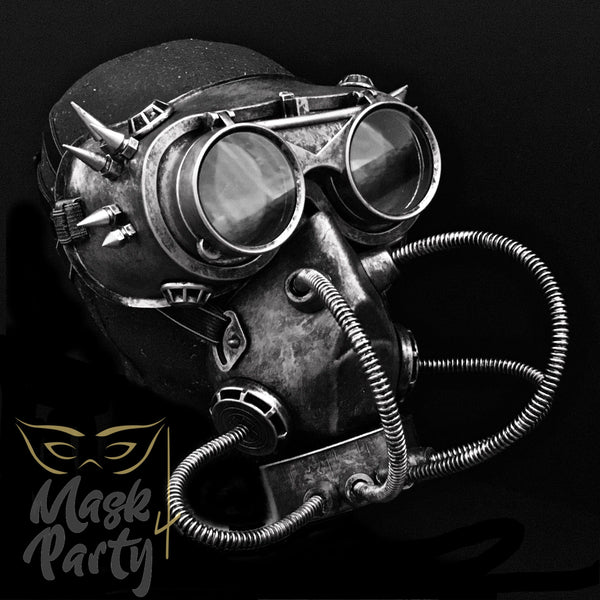 Steampunk Mask - Rivet Flip-Up Goggles & Gas Tube - Black/Silver - Mask4Party