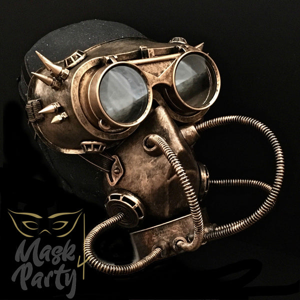 Steampunk Mask - Rivet Flip-Up Goggles & Gas Tube - Copper/Black - Mask4Party