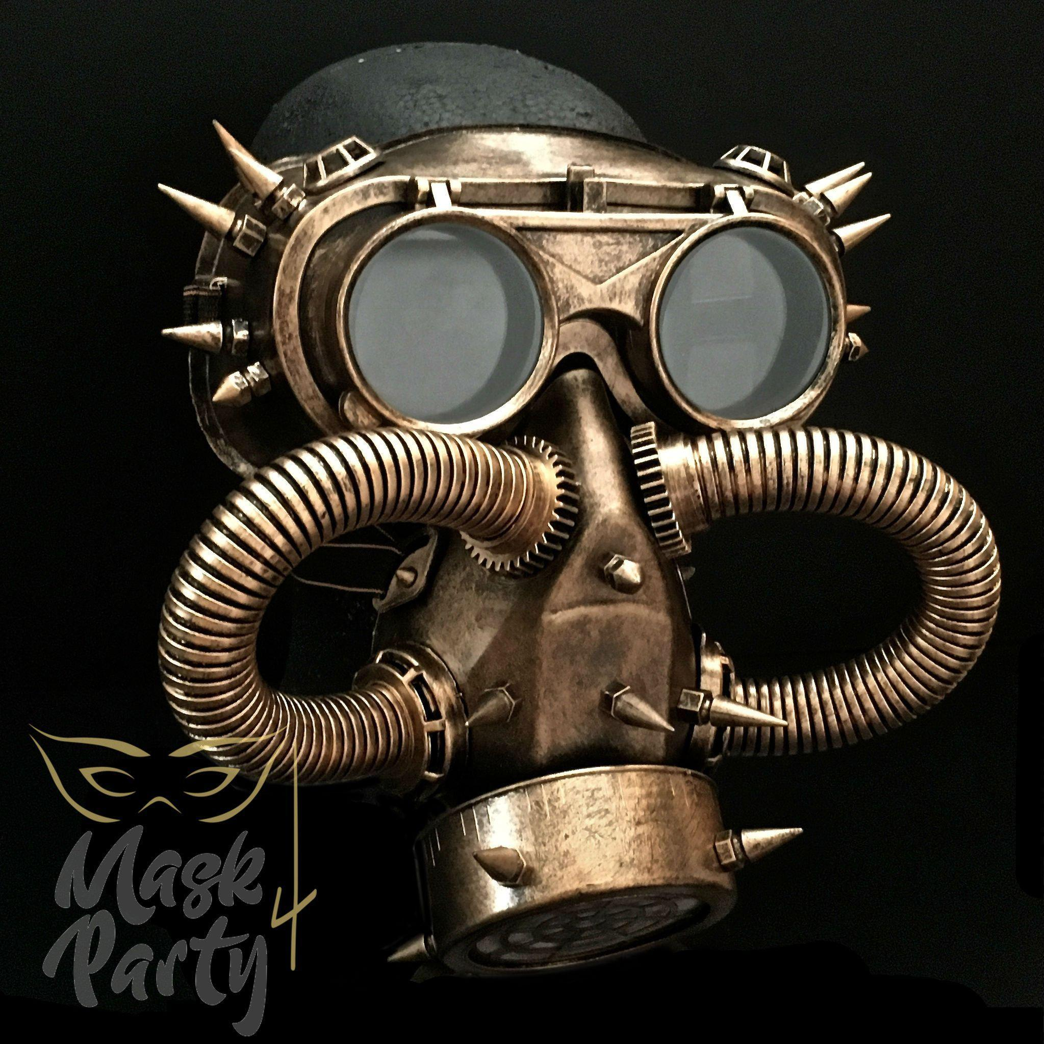 Steampunk Mask - Rivet Flip-Up Goggles & Gas Tube - Gold/Black - Mask4Party