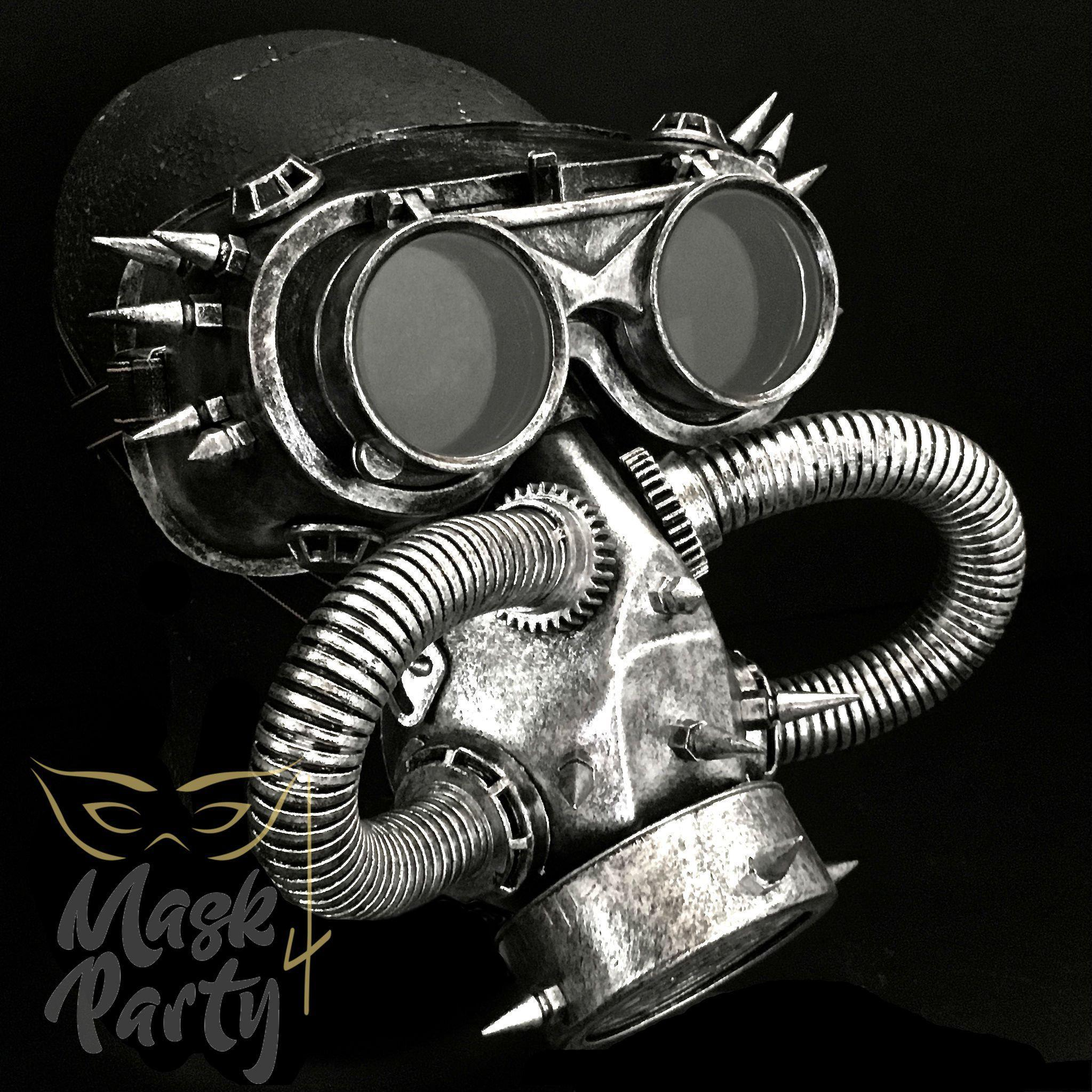 Steampunk Mask - Rivet Flip-Up Goggles & Gas Tube - Silver/Black - Mask4Party