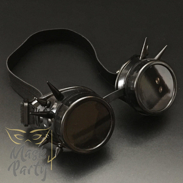 Steampunk Mask - Rivet Goggles - Black - Mask4Party