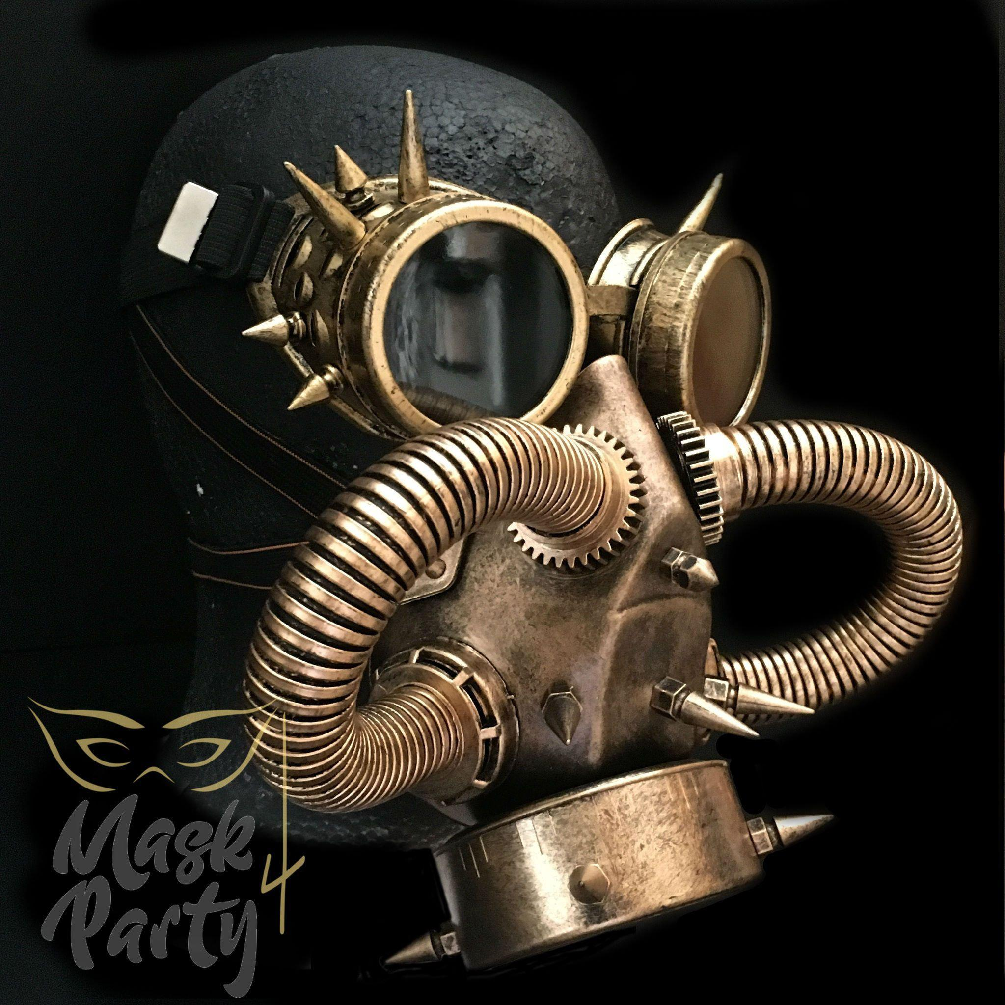 Steampunk Mask - Rivet Goggles & Gas - Gold/Black - Mask4Party