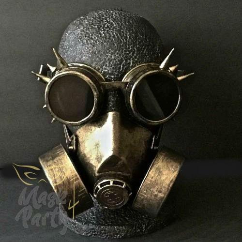 Steampunk Mask - Rivet Goggles & Respirator - Black/Gold - Mask4Party