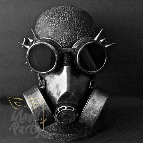 Steampunk Mask - Rivet Goggles & Respirator - Black/Silver - Mask4Party