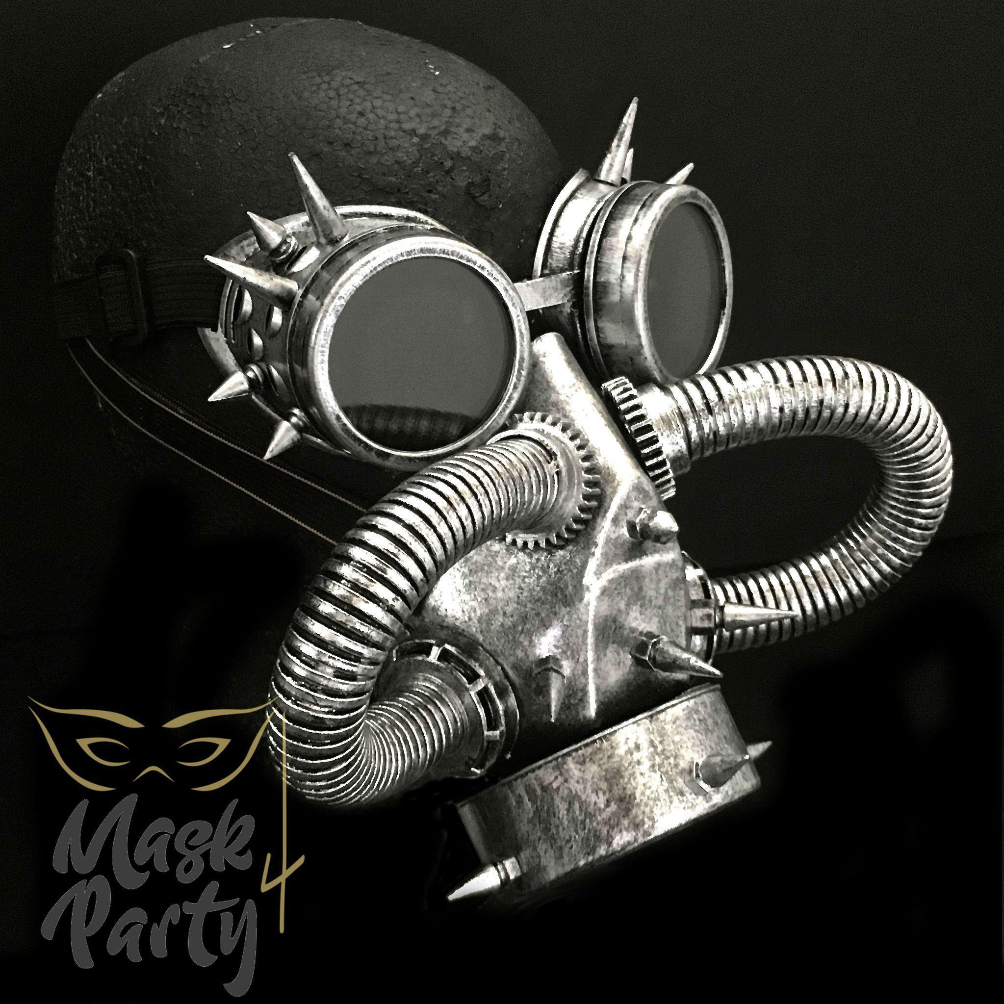 Steampunk Mask - Rivet Goggles & Respirator - Silver/Black - Mask4Party