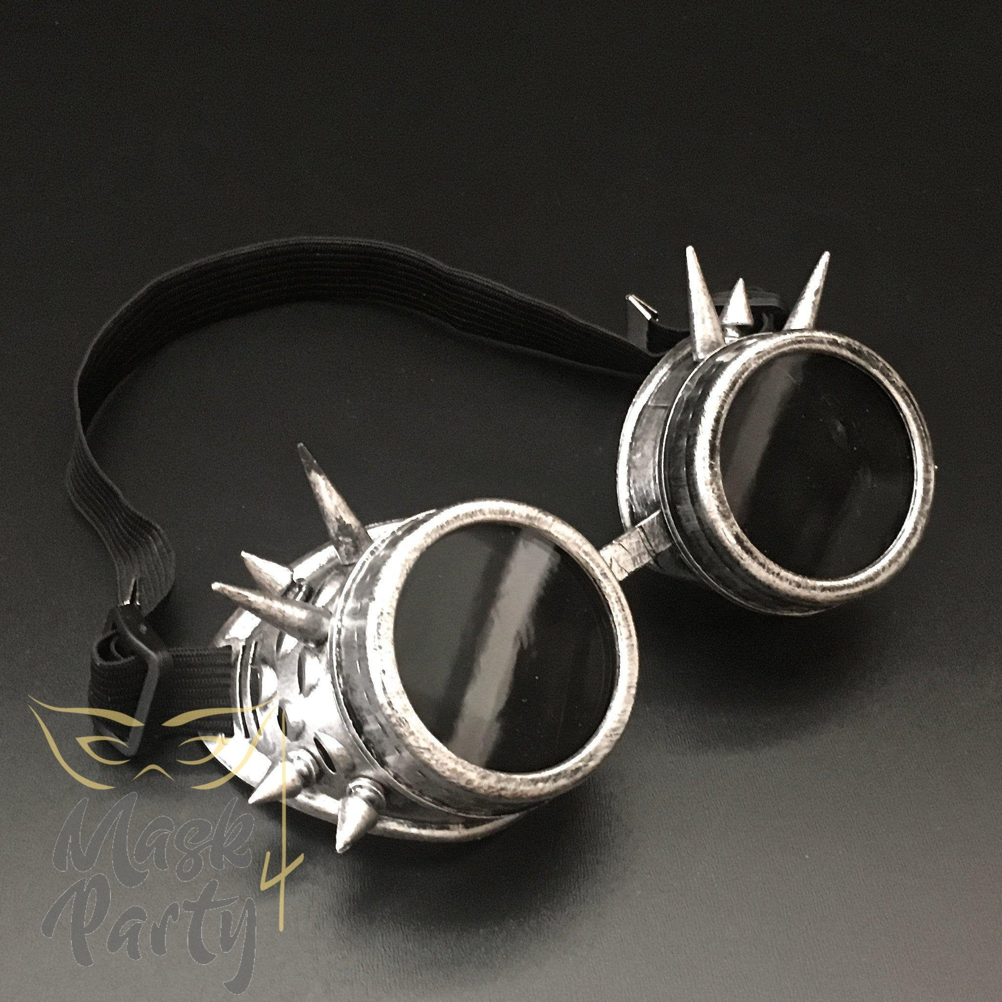 Steampunk Mask - Rivet Goggles - Silver/Black - Mask4Party