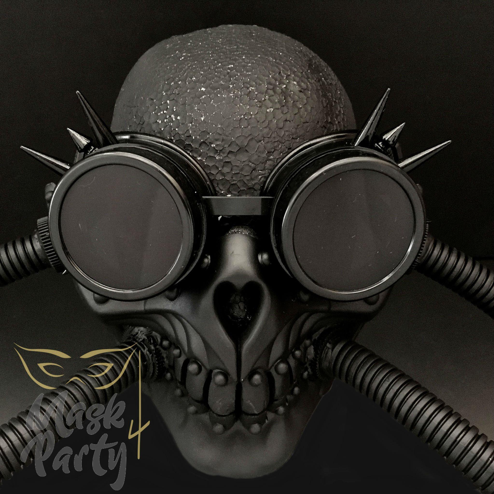 Steampunk Mask - Rivet Goggles & Skull Tube - Black - Mask4Party