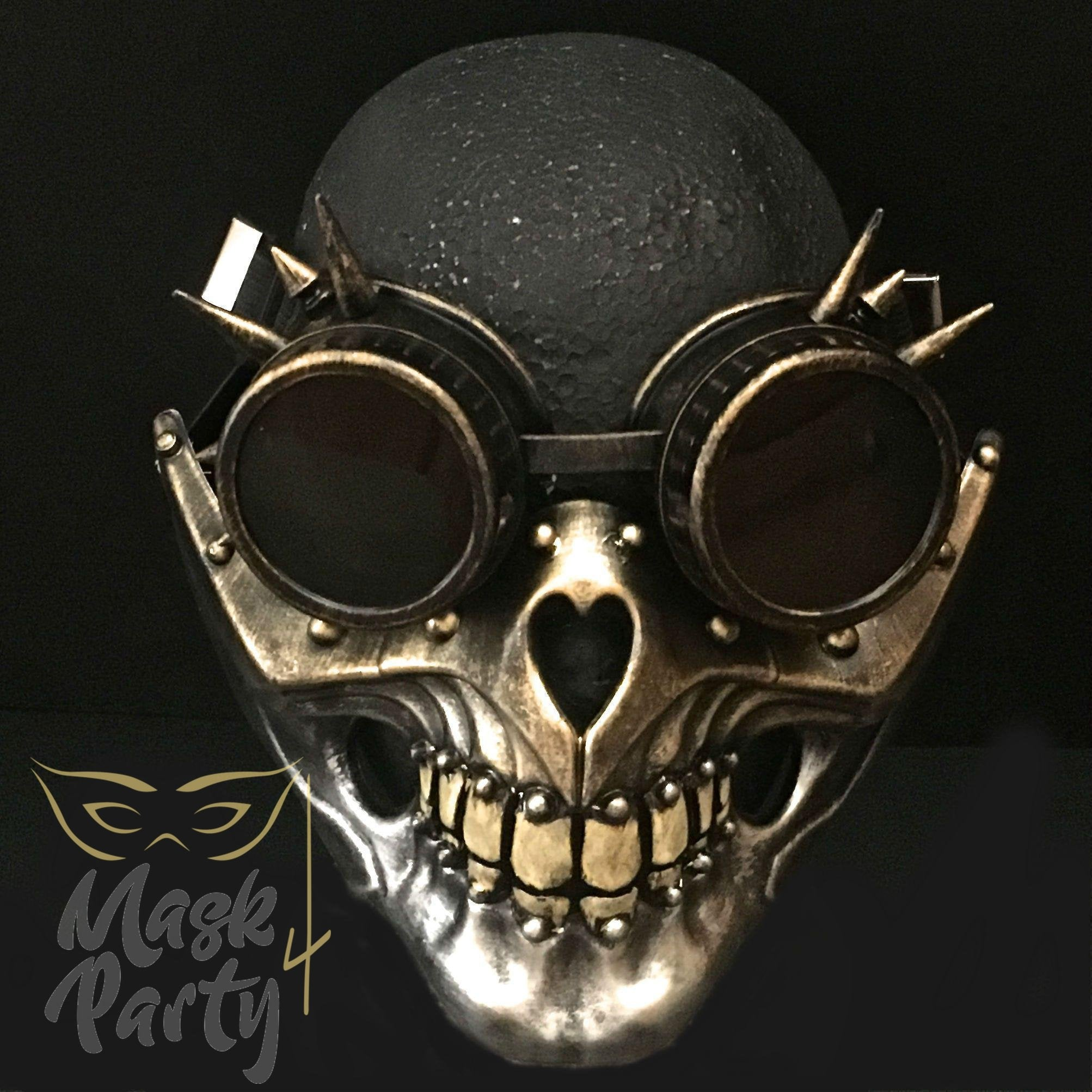 Steampunk Mask - Vintage Rivet Goggles & Skull - Gold/Silver - Mask4Party