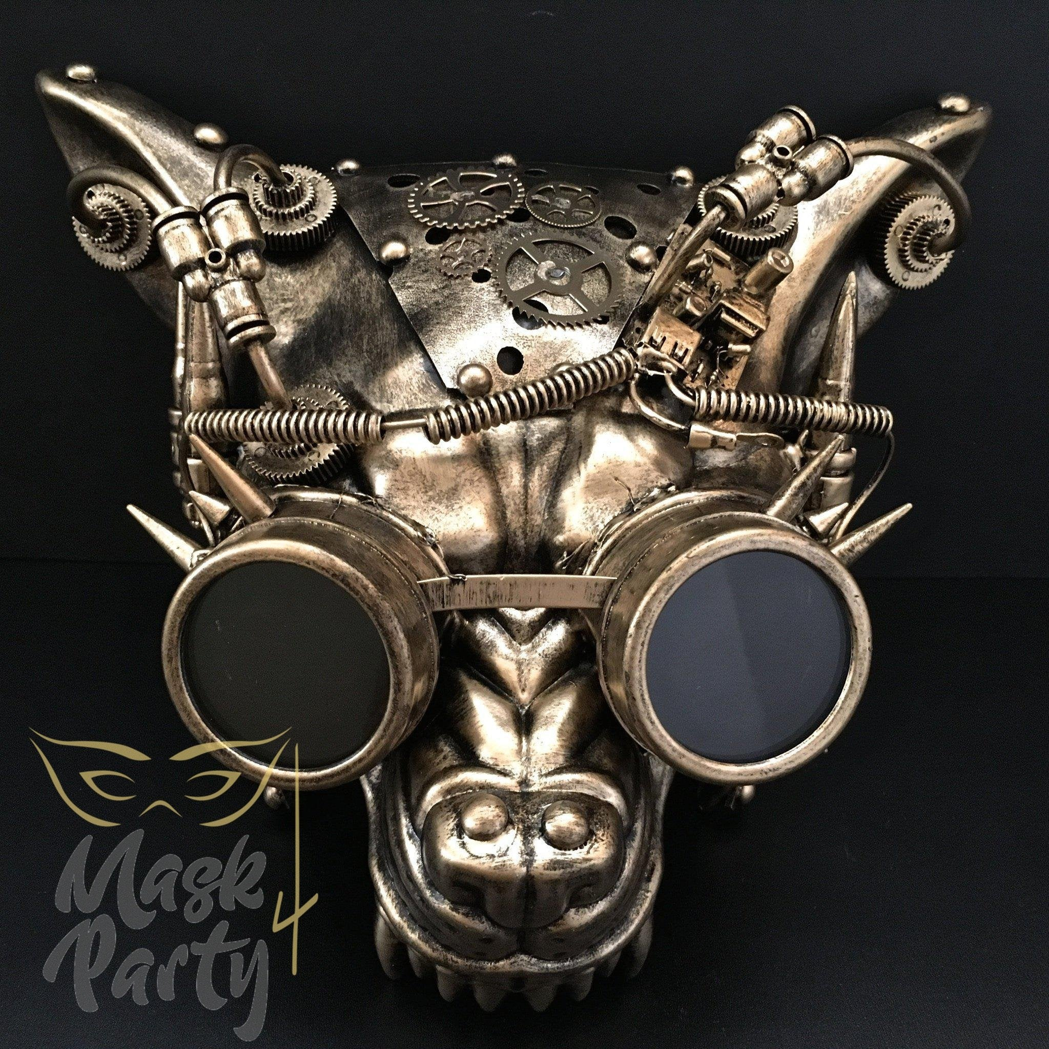 Steampunk Mask - Wolf Rivet Goggles & Gear - Black/Gold - Mask4Party