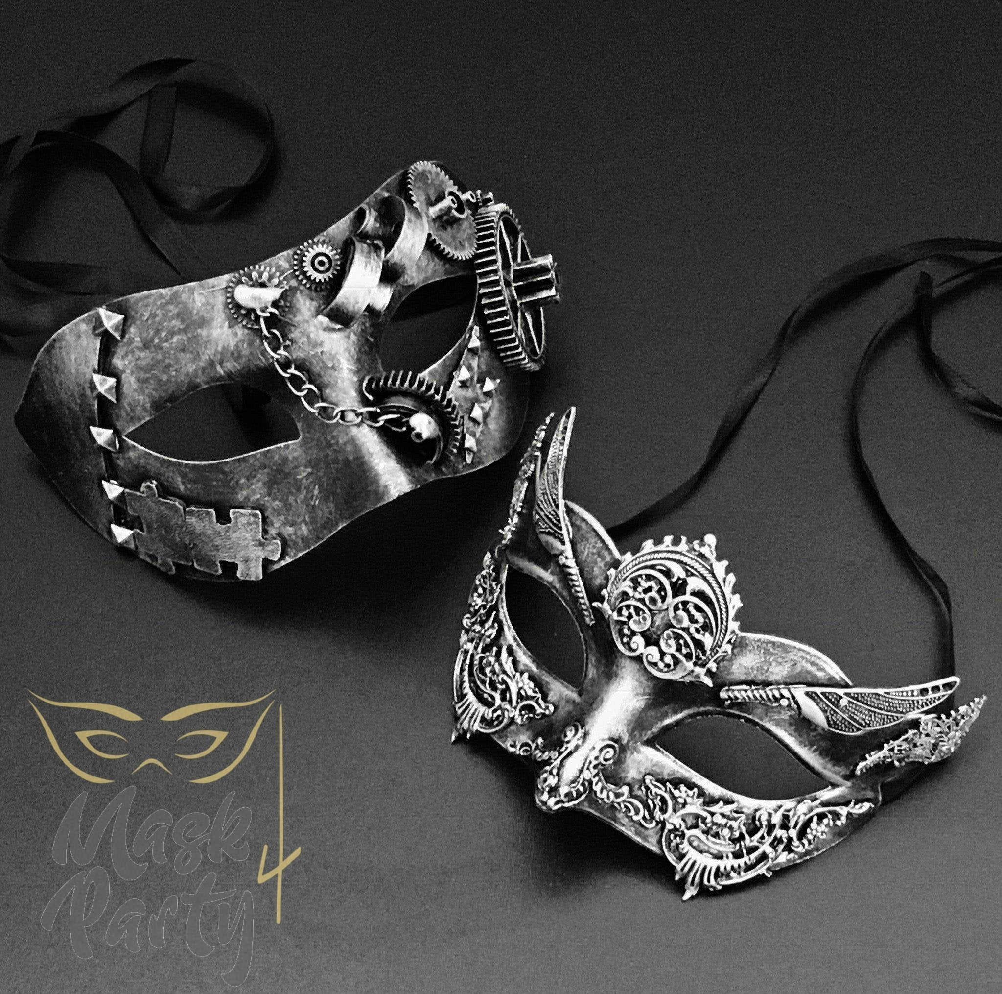 Steampunk Masks - Gear & Wings Eye - Silver/Black - Mask4Party