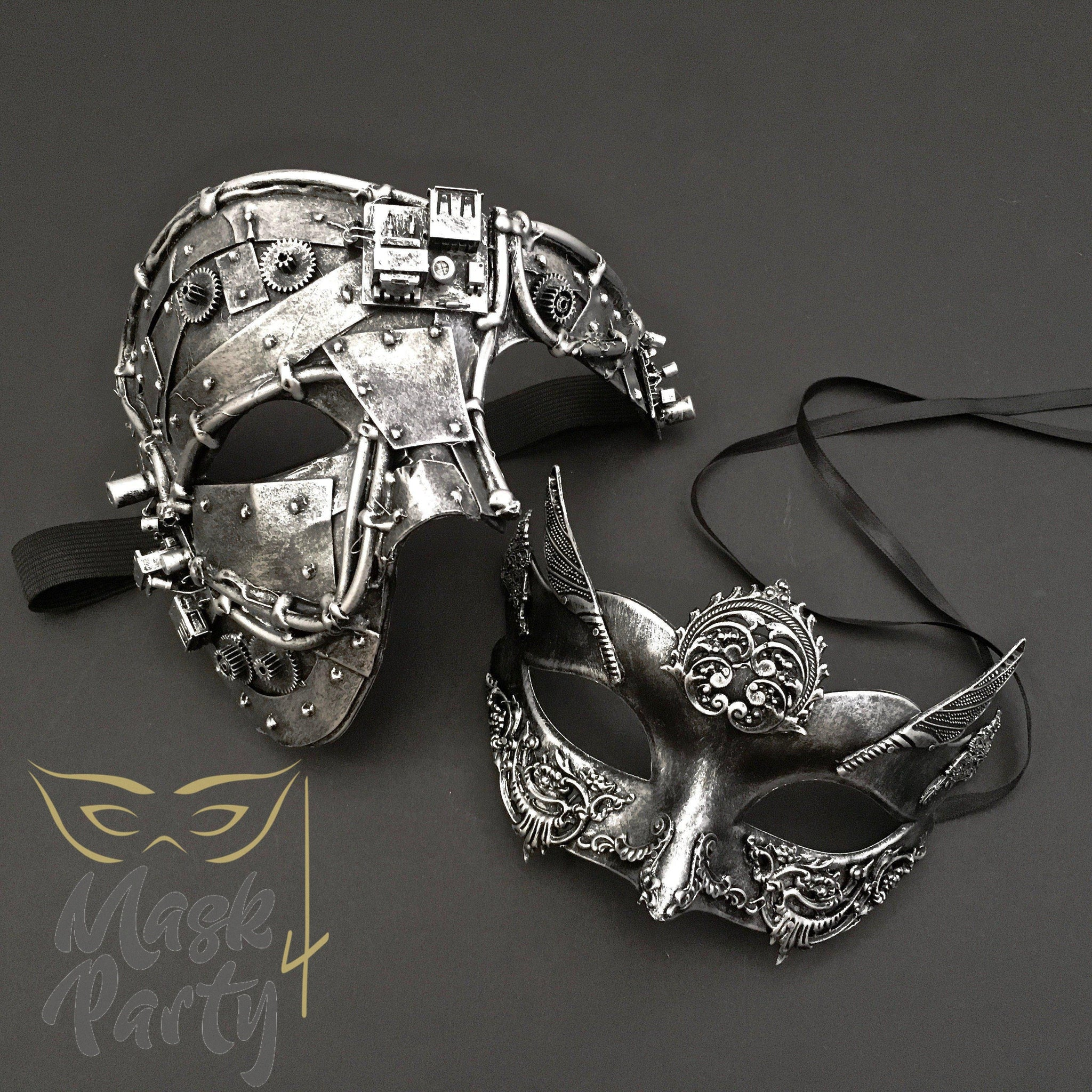 Steampunk Masks - Phantom Gear & Delicate Wings - Silver - Mask4Party