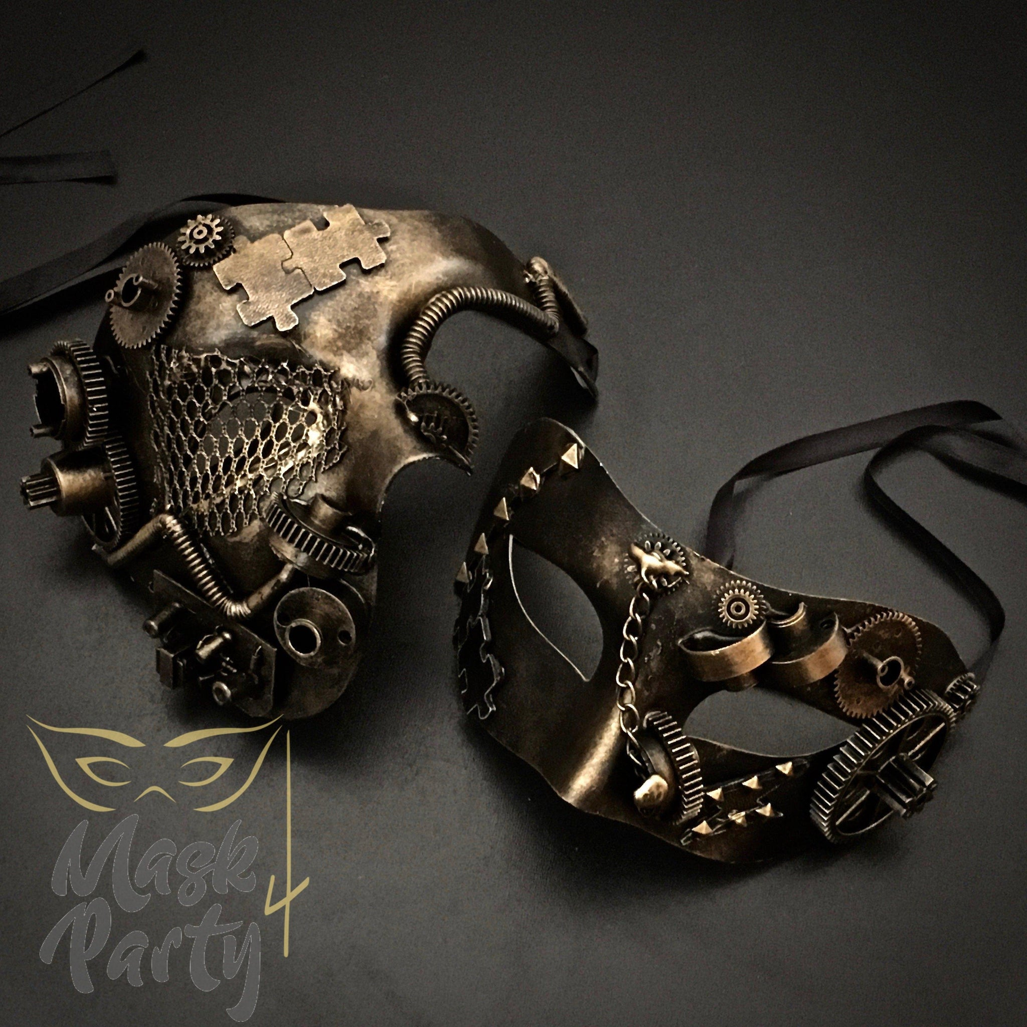 Steampunk Masks - Phantom Gear & Puzzle - Black/Gold - Mask4Party