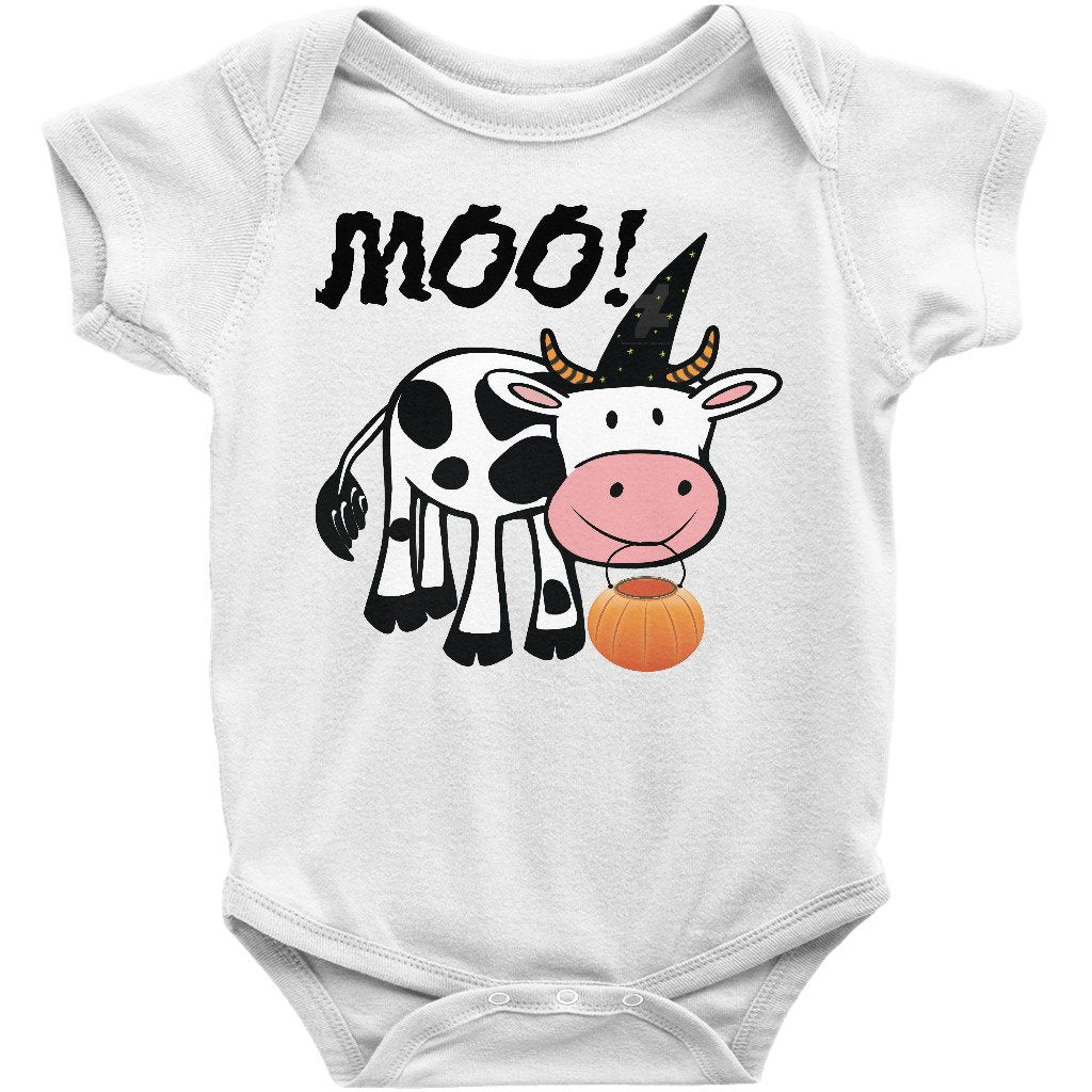 f8f46e4c04ef Cute Halloween Onesie Bodysuit Infant and Toddler Shirt with Cow Moo-Boo!