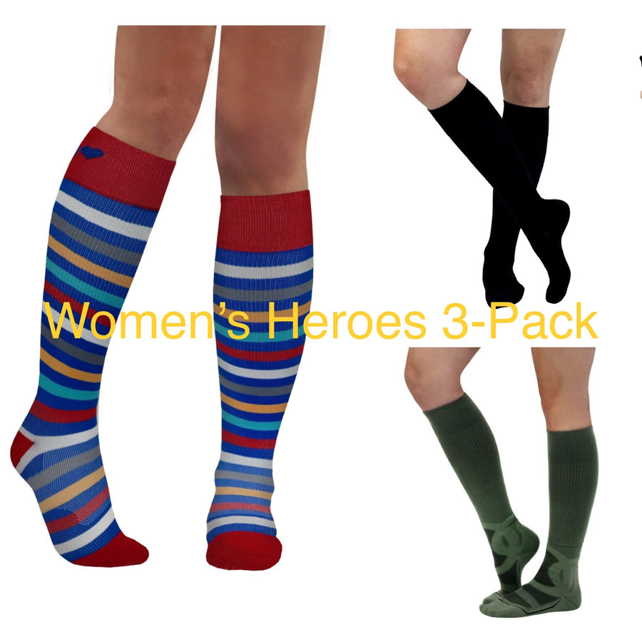 WOMEN's HEROES 3-PACK of 20-30 mmHg Compression Socks for Frontline Heroes