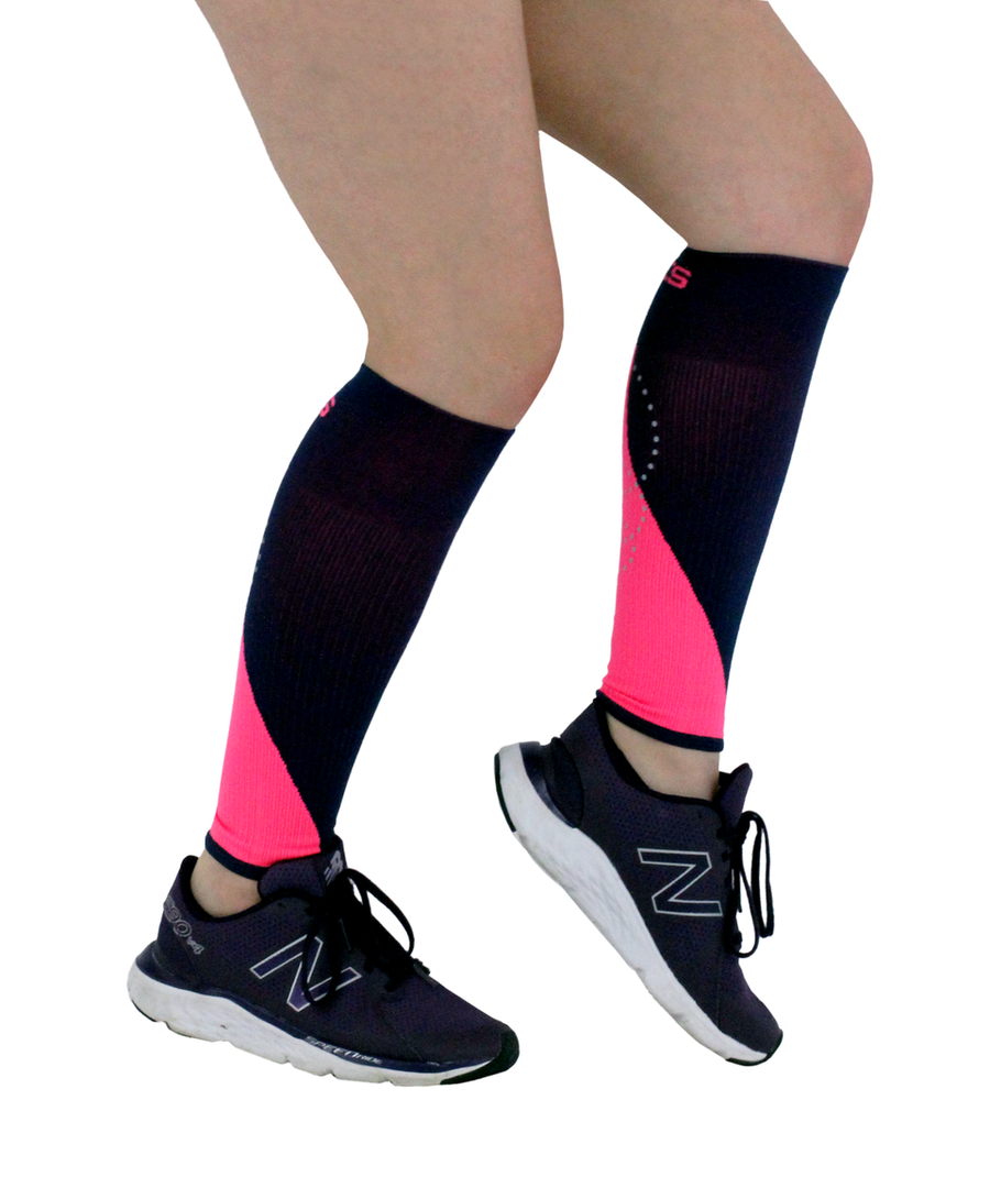 ATN SportsEdge Calf Sleeves - Navy / Pink