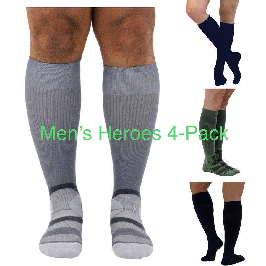 Men's HEROES 4-PACK of 20-30 mmHg Compression Socks for Frontline Heroes