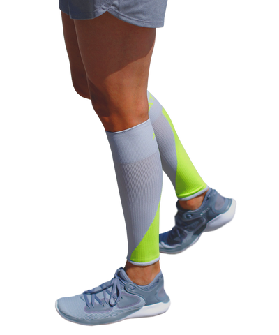 ATN SportsEdge Calf Sleeves - Grey/Lime Green