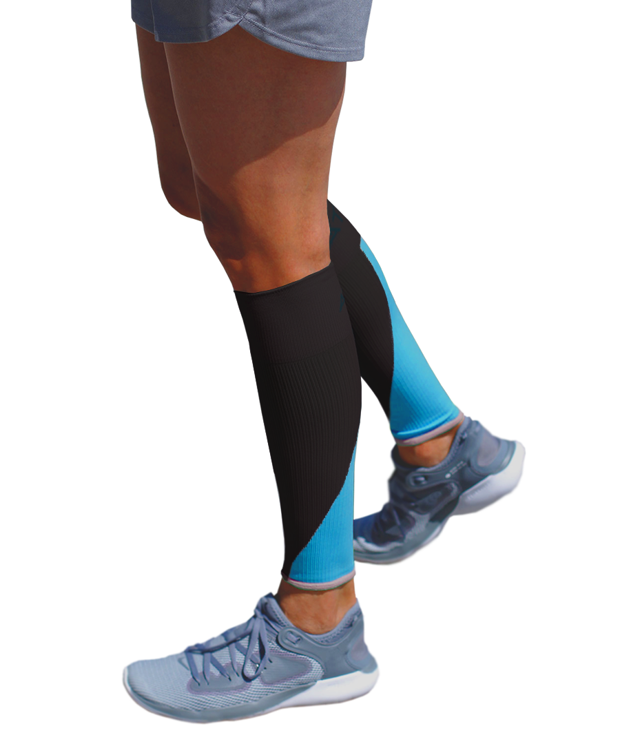 ATN SportsEdge Calf Sleeves - Black/Aqua Blue
