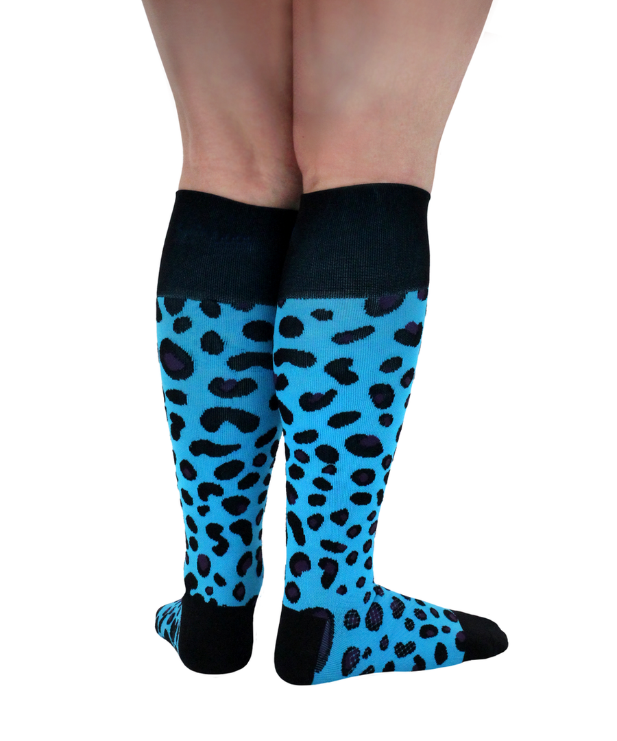 ATN Compression Knee High - Cheetah Cyan
